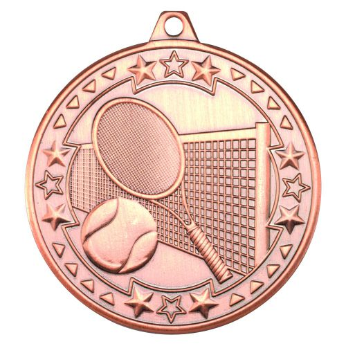Bronze Tennis Tri-Star Medal - 2in