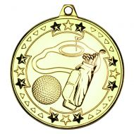 Gold Golf Tri-Star Medal - 2in
