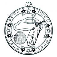 Silver Golf Tri-Star Medal - 2in