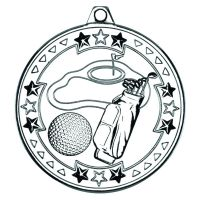 Silver Golf Tri-Star Medal - 2in