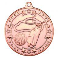 Bronze Golf Tri-Star Medal - 2in