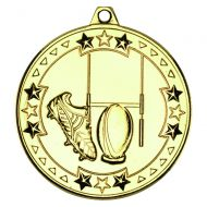 Gold Rugby Tri-Star Medal - 2in