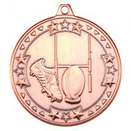Bronze Rugby Tri-Star Medal - 2in