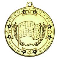 Gold Motor Sport Tri-Star Medal - 2in