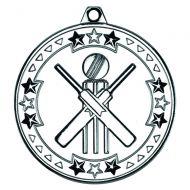 Silver Cricket Tri-Star Medal - 2in
