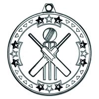 Silver Cricket Tri-Star Medal - 2in