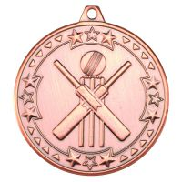 Bronze Cricket Tri-Star Medal - 2in