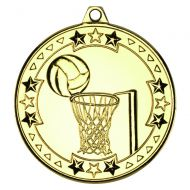 Gold Netball Tri-Star Medal - 2in