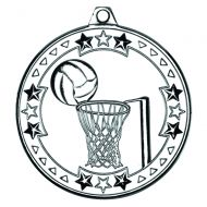 Silver Netball Tri-Star Medal - 2in