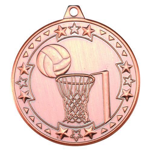Bronze Netball Tri-Star Medal - 2in