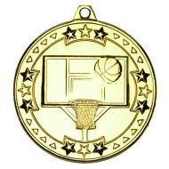 Gold Basketball Tri-Star Medal - 2in