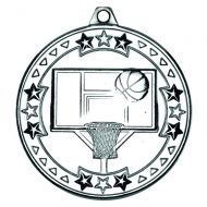 Silver Basketball Tri-Star Medal - 2in