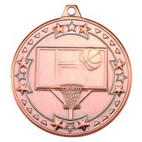 Bronze Basketball Tri-Star Medal - 2in