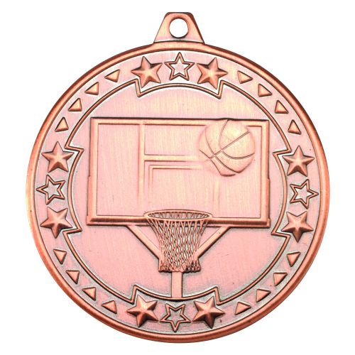 Bronze Basketball Tri-Star Medal - 2in