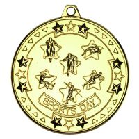 Gold Sports Day Tri-Star Medal - 2in