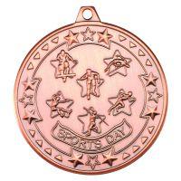 Bronze Sports Day Tri-Star Medal - 2in