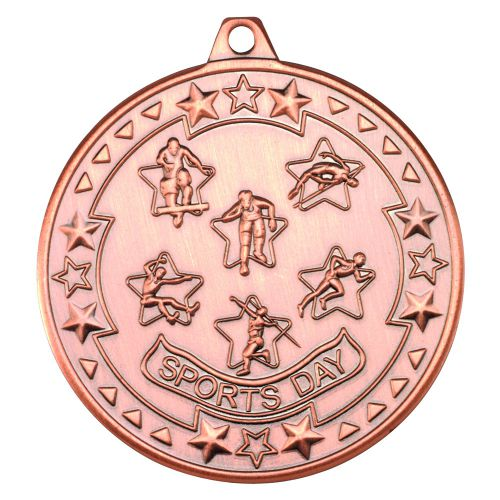 Bronze Sports Day Tri-Star Medal - 2in