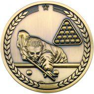 Pool Snooker Medallion Antique Gold 2.75in