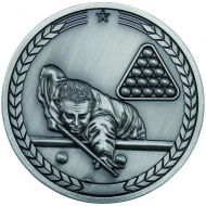 Pool Snooker Medallion Antique Silver 2.75in