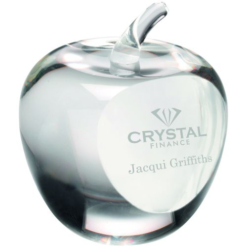 Clear Glass and Apple and Paperweight With Presentation Case - 3.5in