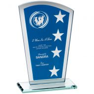 Blue Silver Printed Glass Shield Trophy Award With Wreath Star Design - (1in Centre) 7.25in