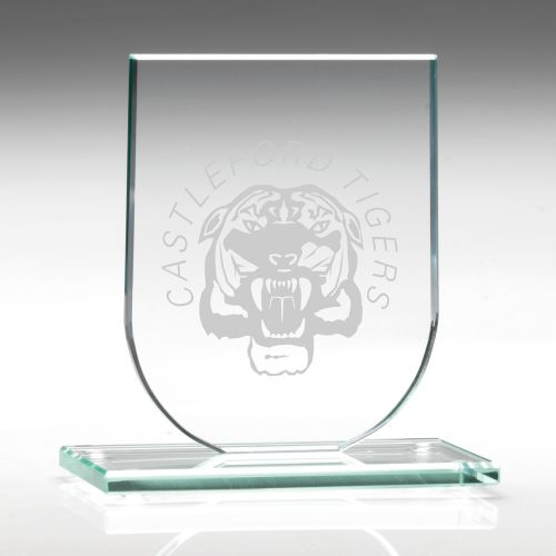 Jade Glass Shield Trophy Award Plaque (6mm Thick) - 4.25in