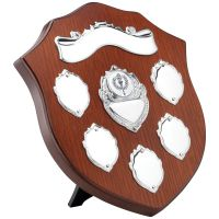 Wooden Shield Trophy Award With Chrome Fronts - 8in
