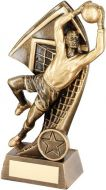 Bronze/Gold Goalkeeper With Net Backdrop Trophy - (1in Centre) 7in