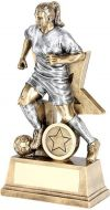 Bronze / Pewter Female Football Figure With Star Backing Trophy Award - 6in