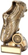 Bronze/Gold Football Boot On Half-Ball Base Trophy - (1in Centre) 5.5in
