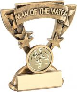 Bronze / Gold Man Of The Match Mini Cup With Football Insert Trophy Award - 3.75in