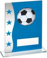 Blue/Silver Printed Glass Plaque With Football Image Trophy Award - 6.5in