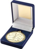 Blue Velvet Box And Medal Referee Trophy - Gold 3.5in