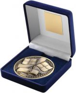 Blue Velvet Box And Medallion Referee Trophy - Antique Gold 4in
