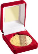 Red Velvet Box And 50mm Medal Football Man Of The Match Trophy Award - Gold - 3.5in