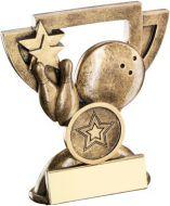 Bronze/Gold Ten Pin Mini Cup Trophy - (1in Centre) 3.75in