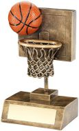 Bronze/Gold/Orange Basketball And Net With Backboard Trophy - 5.25in