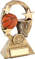 Bronze/Gold/Orange Basketball Oval/Stars Series Trophy - (1in Centre) 6.25in