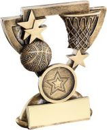 Bronze/Gold Basketball Mini Cup Trophy - (1in Centre) 3.75in
