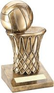 Bronze/Gold Netball And Net Trophy - 5in