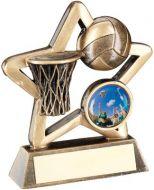 Bronze/Gold Netball Mini Star Trophy 3.75in