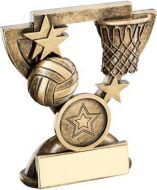 Bronze/Gold Netball Mini Cup Trophy - (1in Centre) 3.75in