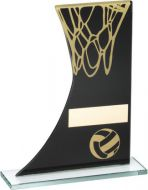 Black/Gold Printed Glass Plaque With Netball/Net Trophy - 6.5in