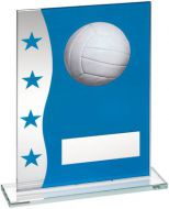 Blue/Silver Printed Glass Plaque With Netball Image Trophy Award - 6.5in