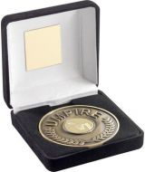 Black Velvet Box And 70mm Umpire Medallion With Netball Insert - Antique Gold -
