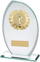 Jade/Frosted Glass Plaque With Gold Trim Trophy Award - (2in Centre) - 8.25in