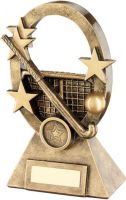 Bronze/Gold Hockey Oval/Stars Series Trophy - (1in Centre) 7.25in