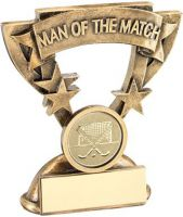 Bronze/Gold/Gold Man Of The Match Mini Cup With Hockey Insert Trophy Award - 3.75in