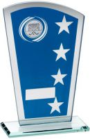 Blue/Silver Printed Glass Shield With Hockey Insert Trophy - 8in