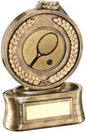 Bronze/Gold Medal And Ribbon With Tennis Insert Trophy - 5.75in